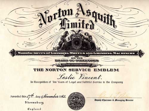 Certificate for Leslie Vincent